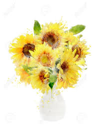 Vase Of Sunflowers Watercolor Digital Painting Of Sunflowers Bouquet In Vase Stock