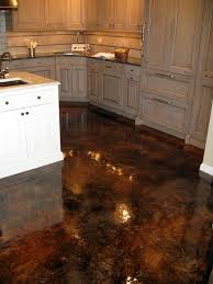 stained concrete overlay applied to basement floor charcoal