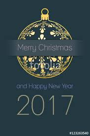 merry christmas happy 2017 greeting card gold