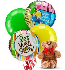 get well soon basket get well balloons 4 mylar balloons send a