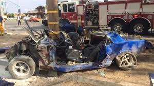 Black Mustang Crash Car Wraps Around Pole In Northeast Fresno Crash Abc30 Com
