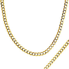 tone gold necklace images Men 39 s 3 65mm diamond cut curb chain necklace in 14k two tone gold jpg
