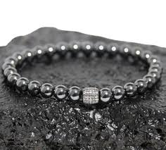 bracelet beads silver images Harold gray quot 6mm hematite bead bracelet pave sterling silver for png