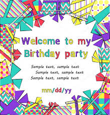 My Birthday Invitation Card Vector Colorful Birthday Invitation Card With Gift Boxes In