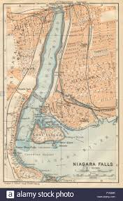 Old Map New York City by Niagara Falls Antique Town City Plan New York State Baedeker