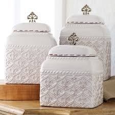 set 3 mud pie fleur de lis kitchen canisters set ceramic metal