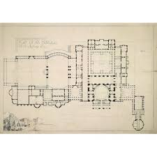 Floor Plan And Perspective Unexecuted Designs For A Proposed Castle At Hengistbury Head
