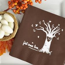 Initials Carved In Tree Autumn Love Tree Carved Initials Cocktail Wedding Napkins Set Of 50