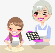 faire la cuisine grand mère et ma fille faire la cuisine dessin de peints
