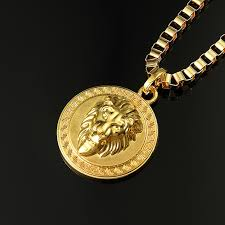 man necklace store images Js 100 18k gold plated round lion head pendant necklace man cool jpg