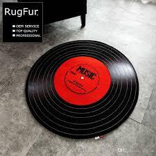 Retro Bathroom Rugs Retro Creative Record Pattern Bedroom Carpet Red Round Bathroom