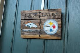 rustic house divided hand painted reclaimed pallet wood sign