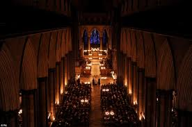 salisbury cathedral illuminated by advent candle darkness to light