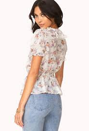 floral chiffon blouse lyst forever 21 whimsical floral chiffon blouse