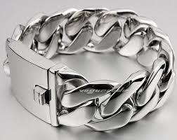 link bracelet silver images Urban jewelry stainless steel men charm cuban curb link bracelet jpg
