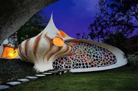 Creative Colorful  Curved Spiral Shell House Design - Creative home designs