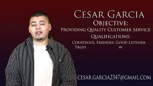 Resume Customer Service by Cesar Garcia Video Resume Customer Service Position Youtube