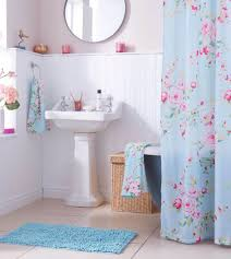 looks cute floral shower curtain pink and baby blue together