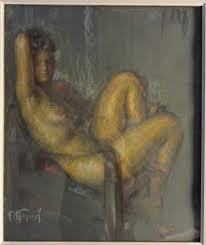 Fernand MAJOREL (1898-1965) Nu sur un fauteuil. Crayon, pastel, - 39