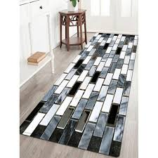 Black And White Floor Rug Ceramic Tile Pattern Water Absorption Area Rug In Black White W24