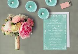 weddings cards mint green wedding invitations for shabby chic weddings vintage