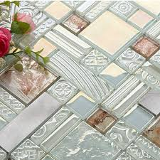 Cream Crystal Glass Mosaic Tile  Stainless Steel Metal Tile - Glass and metal tile backsplash