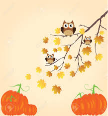 vector thanksgiving background with owls pumpkins fall tree