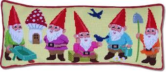 kirk hamilton needlepoint kit garden gnomes
