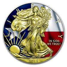 American State Flags 2015 1oz American Silver Eagle Texas Flag Gold Gilded Coin