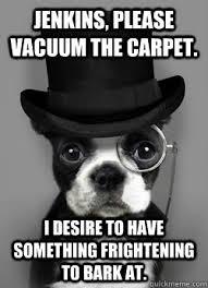 Benson Dog Meme - jenkins please vacuum the carpet i desire to have something