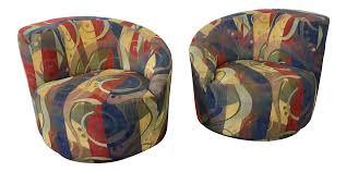 Swivel Chair And Ottoman Vladimir Kagan Nautilus Swivel Chairs U0026 Ottoman Set Of 3 Chairish
