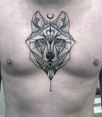 wolf chest geometric wolf design with half moon