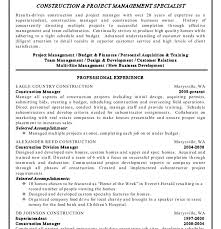 sle project manager resume resume template construction project managementes curriculum vitae
