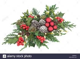 Mistletoe Decoration Christmas Fauna With Red Bauble Decorations Holly Ivy Mistletoe