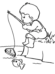 boy fishing coloring page coloring home