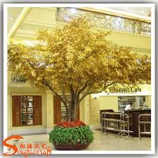 selling fiber glass large artificial tree gold artificial