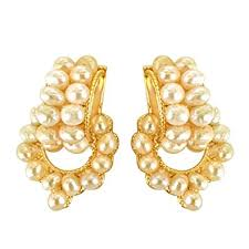 temple design gold earrings buy surat diamonds temple design freshwater pearl gold plated