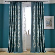 Blackout Window Curtains Blue Leaf Embroidery Linen Cotton Blend Country Curtains For