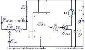 brightness controller for low power lamps electronic circuits