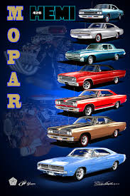 dodge charger all years mopar 50 year celebration car print poster by danny whitfield