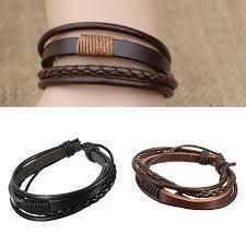 leather bracelet woven images Men multilayer tribal woven surf leather bracelet wristband jpg