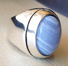 natural stone rings images Blue lace agate natural stone silver 925 huge men ring vintage jpg