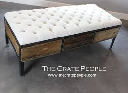 Vintage Table Ls Reclaimed Tufted Ottoman Or 3 Crate Drawer Coffee Table