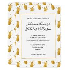 gold pineapples and dots wedding invites