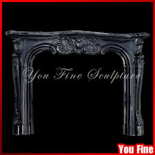 indoor used freestanding gas black stone fireplace surround mantel