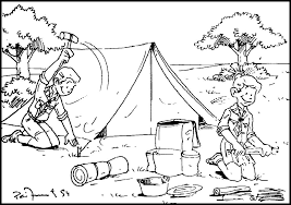 camping coloring pages boys scout coloringstar