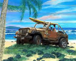beach jeep surf cruiser art gallery hawaii beach surf car art jeep wrangler