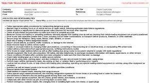 Driver Resume Sample Doc by Truck Driver Local Oilfield Cv Work Experience Samples
