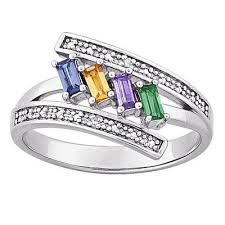 mothers rings with 4 stones mothers emerald cut austrian simulated birthstone and