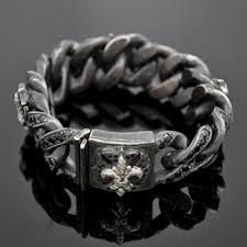 mens black link bracelet images Black sapphire grey diamond fleur de lis cuban link bracelet jpg
